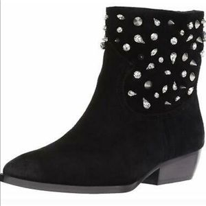 Gorgeous black suede studded bootie!